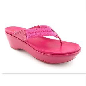 PRADA Pink Logo Strap Platform Thong Sandals 38